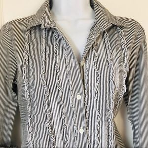 J. Crew Tops - J. Crew Striped Ruffle Tuxedo Button Down Shirt